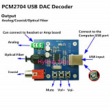 ЦАП USB конвертер DAC PCM2704 Spdif Coaxial OTG Android